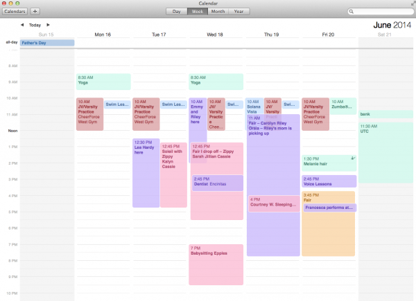 synchronizing family calendars